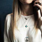 Strieborný náhrdelník - otvárací medailón & tyrkys & kruh