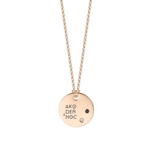 Medailón s 2 diamantmi- ružové zlato