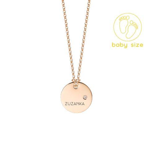 Medailón s diamantom BABY - ružové zlato