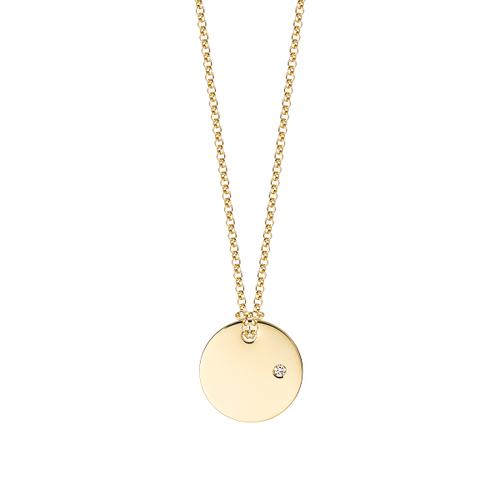 Medailón s diamantom na zlatej retiazke