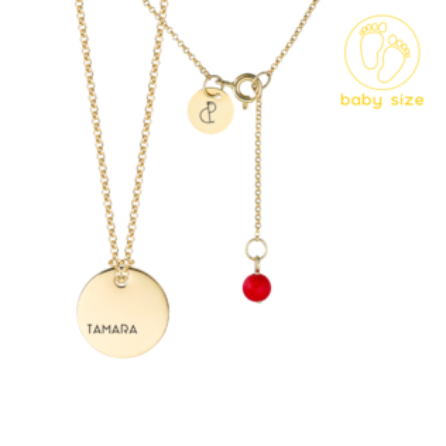 Medailón s retiazkou BABY - žlté zlato