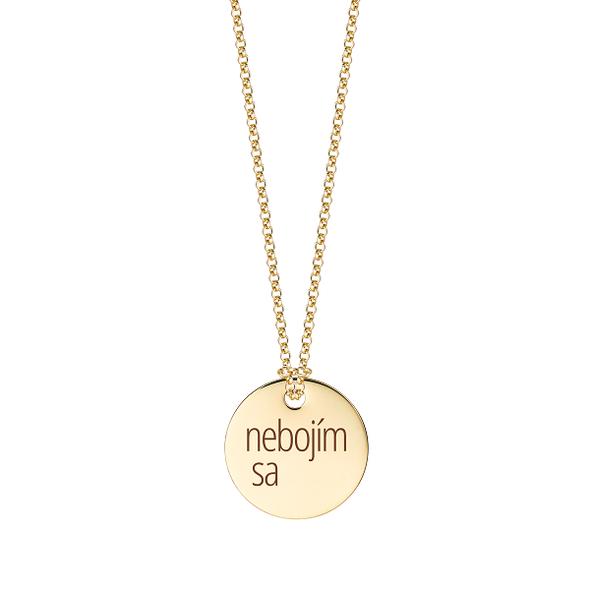 """Zlatý medailón s retiazkou """"nebojím sa"""""""