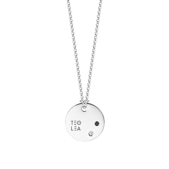 Medailón s 2 diamantami- biele zlato