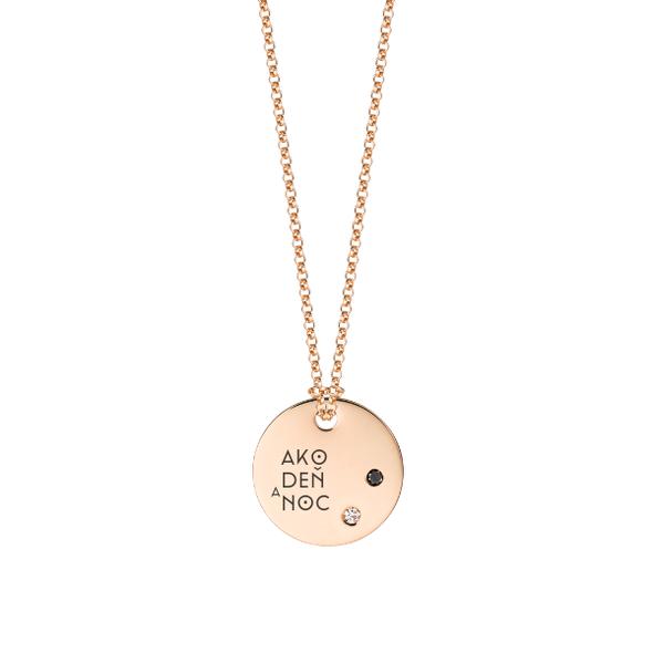Medailón s 2 diamantami- ružové zlato