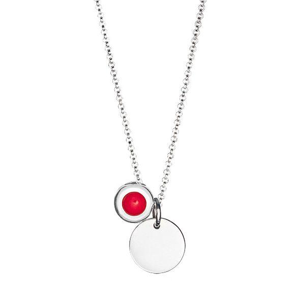Strieborný náhrdelník - medailón & koral