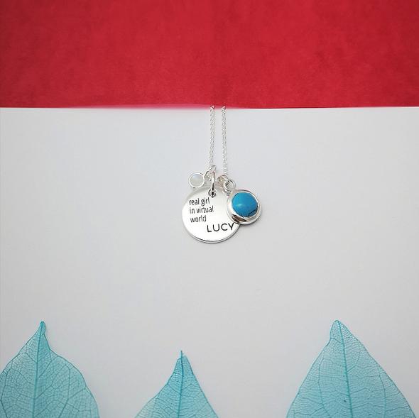 Strieborný náhrdelník - medailón & tyrkys & mesačný kameň